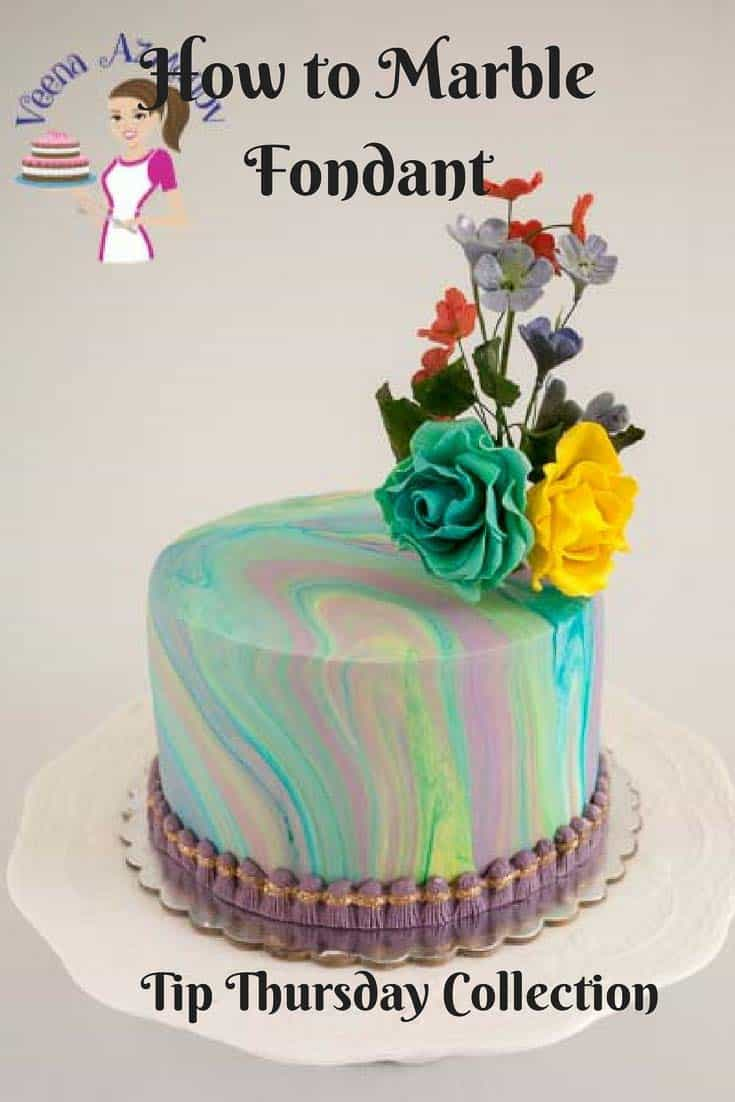 A Pinterest optimized image on how to marble fondant simple and easily to create dramatic or subtle look on the cake.