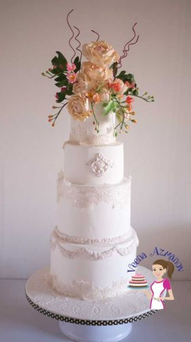Lace inspired White Wedding Cake (4)