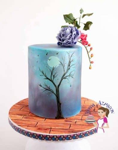 Purple Sky  75th Birthday Cake (13)