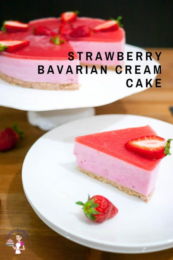 A piece of strawberry Bavarian cream cake on a plate.