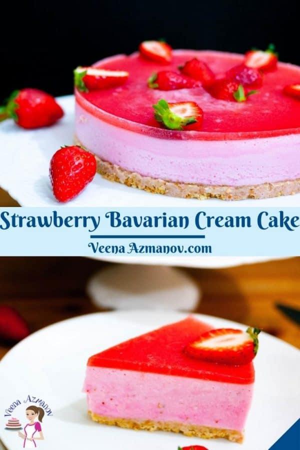Pinterest image for Bavarian Cream Cake.