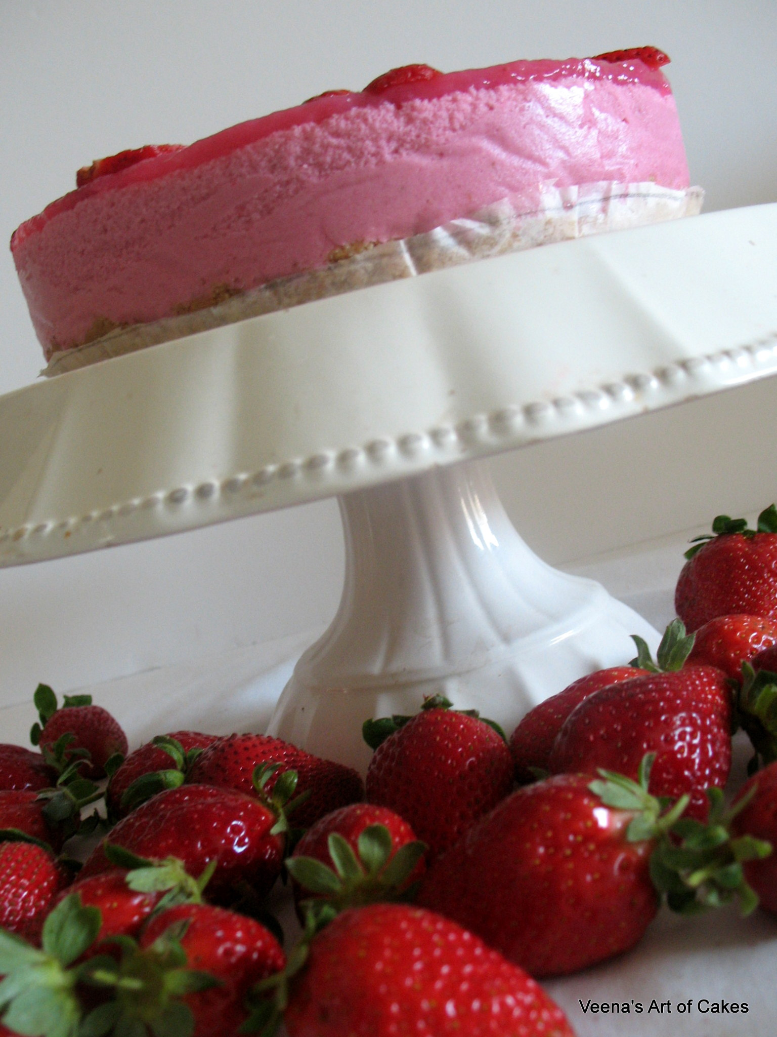 Strawberry Bavarian Cream Cake Veena Azmanov