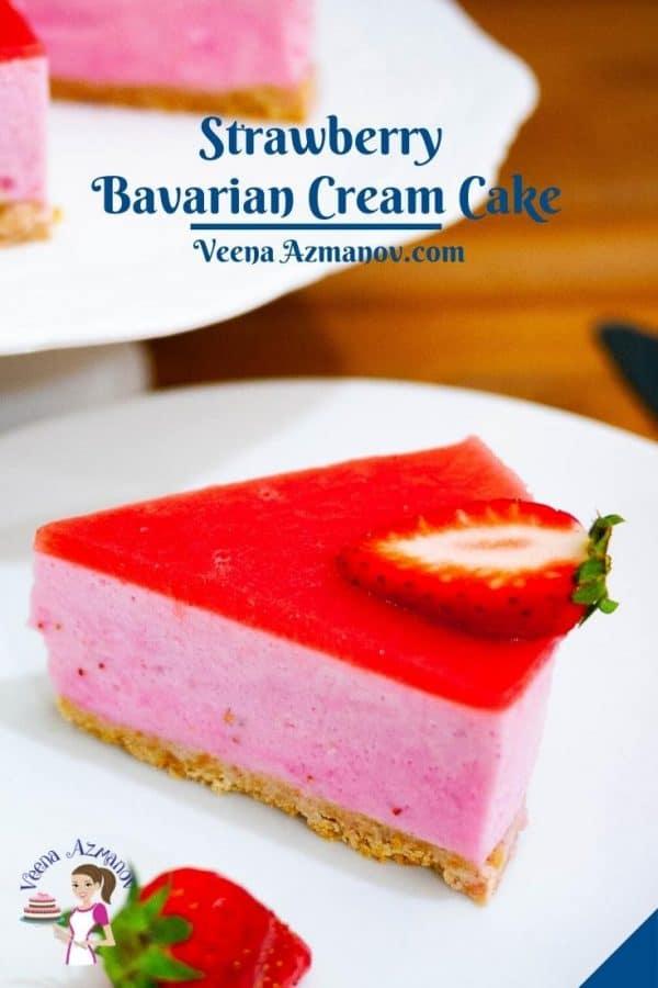 Pinterest image for Bavarian Cream Cake with Strawberries.