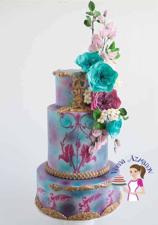 Teal Violet Cabbage Rose Cake - airbrushed cake with marbled effect for shades of pink.