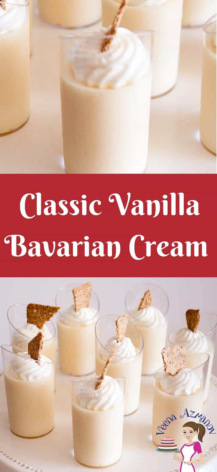A classic French dessert that is delicious as exotic as it looks. A vanilla Bavarian Cream also called creme' Bavaria or just Bavarios is a custard based dessert made with vanilla pastry cream as a base. Infused with vanilla or liquor then lighted with fresh whipped cream. Simple, easy yet very impressive dessert that's perfect any time of the year.