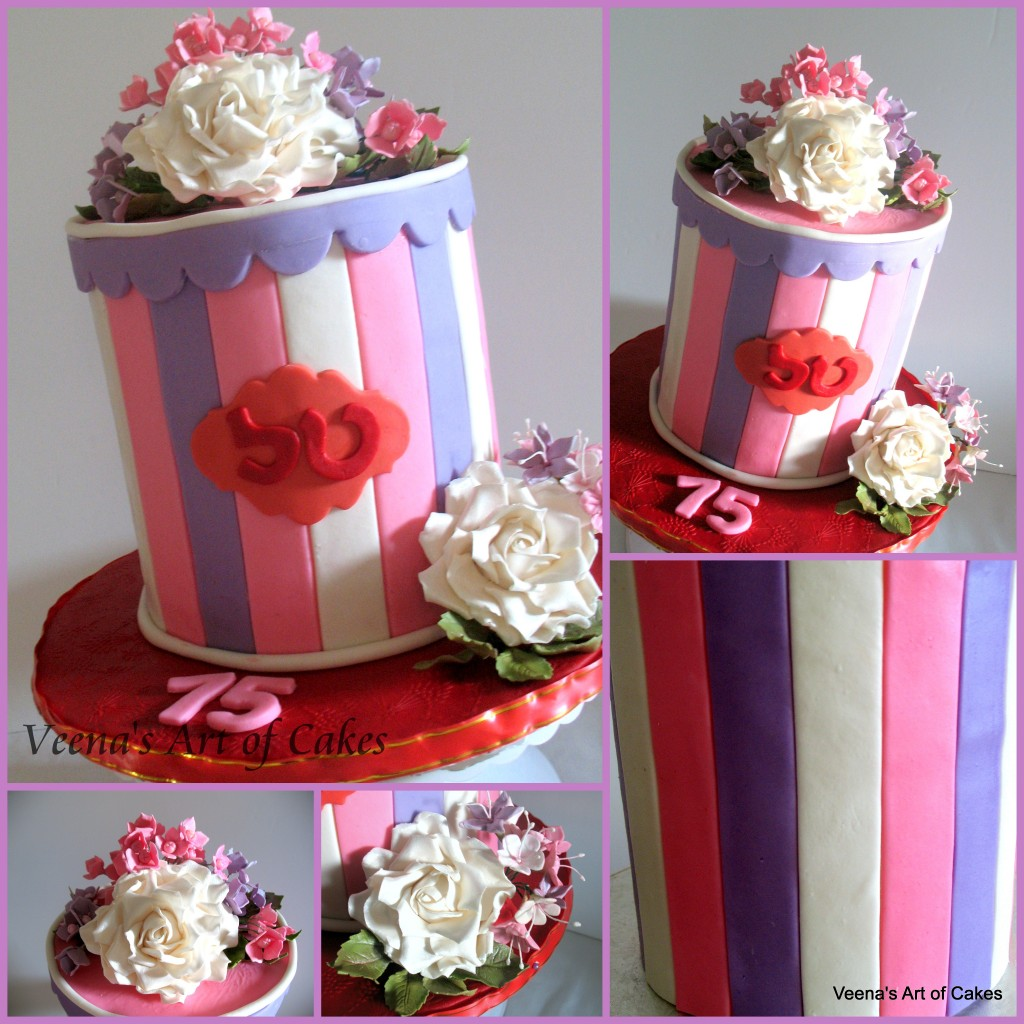Gift Box cake with Roses and Hydrangeas