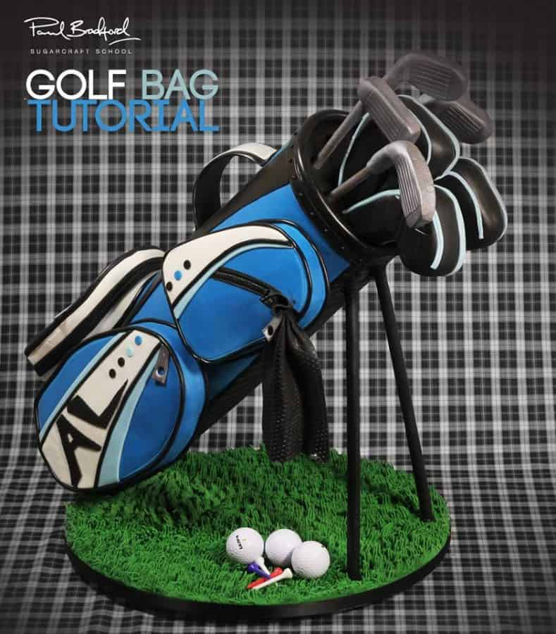 A cake decorated to look like a golf bag.