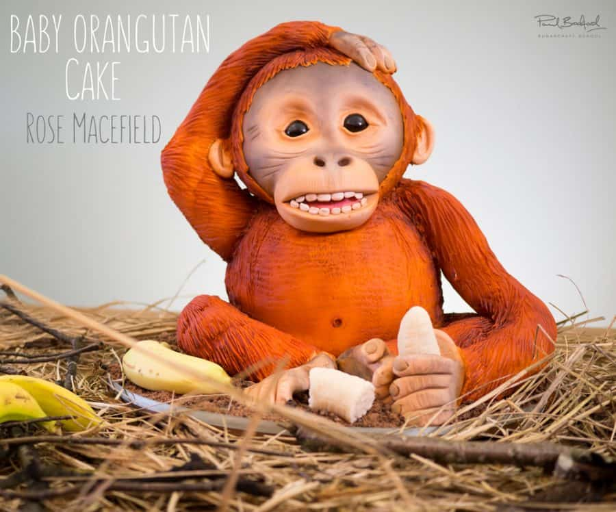 A cake sculpted to look like a monkey.