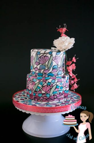A stained glass inspired decorated cake.