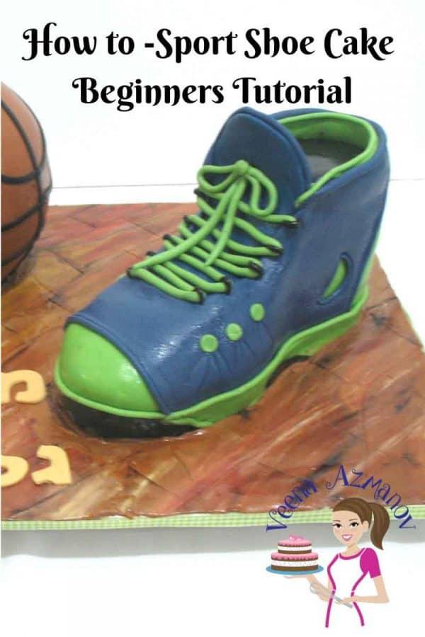 A cake decorated like a basketball and a shoe.