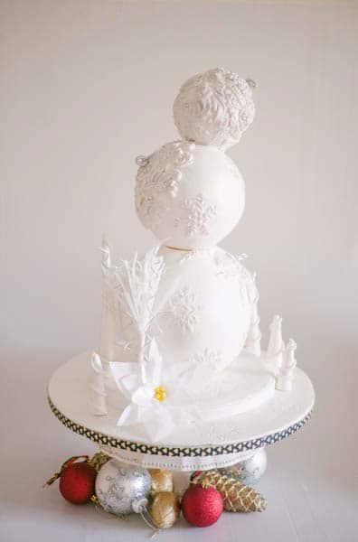 A bauble white wedding cake.
