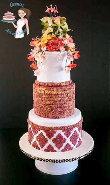 Burgunday Damask Wedding cake