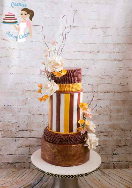 Burgundy stripes wedding cake