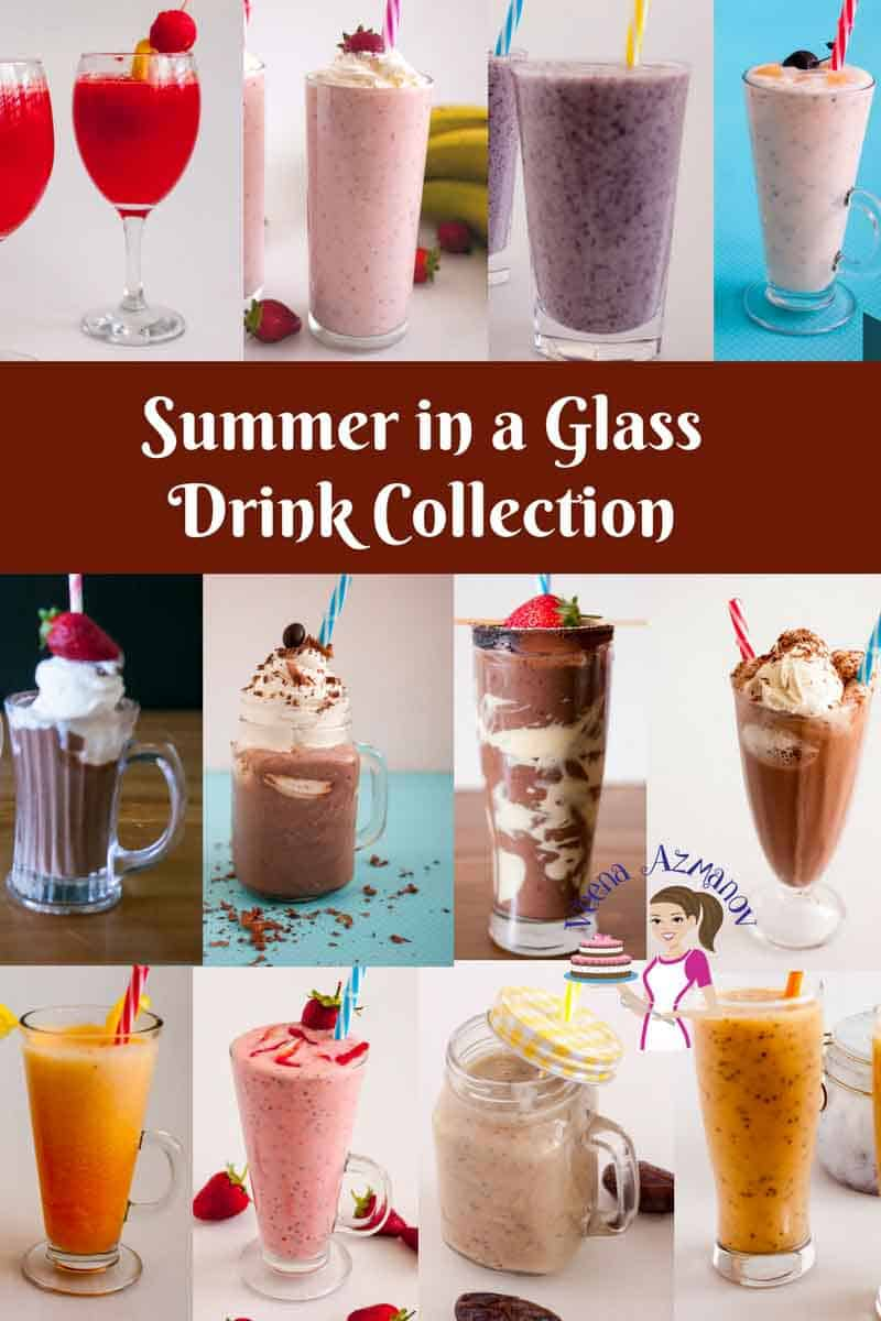 A collection of luxurious summer drinks like watermelon lemonade, strawberry chia smoothie, strawberry Banana milkshake, chia colada, chocolate strawberry smoothie