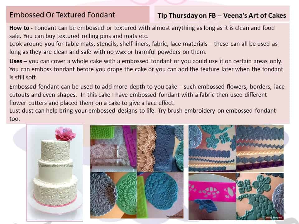 Creating embossed textured fondant is now in trend. Texture can create a more realistic effect on fondant. Embossing fondant with texture mats can add a lot of dimension to any simple plain fondant.