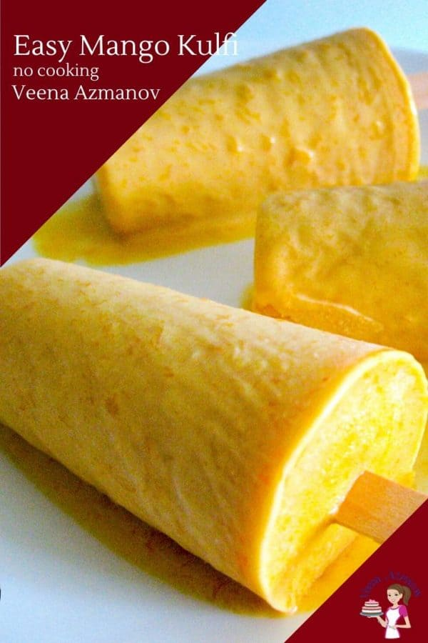Three mango kulfi pops on a plate.