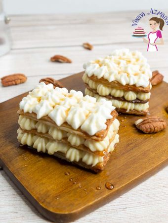 Homemade French Pastry with puff pastry and pastry cream Mille feuille napoleon