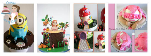 A collage of novelty cakes.