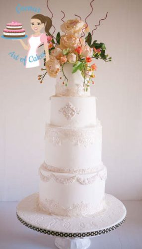 Peony Lace White Wedding Cake (21)