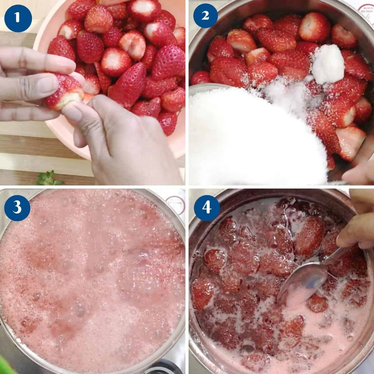 Progress pictures for strawberry jam.