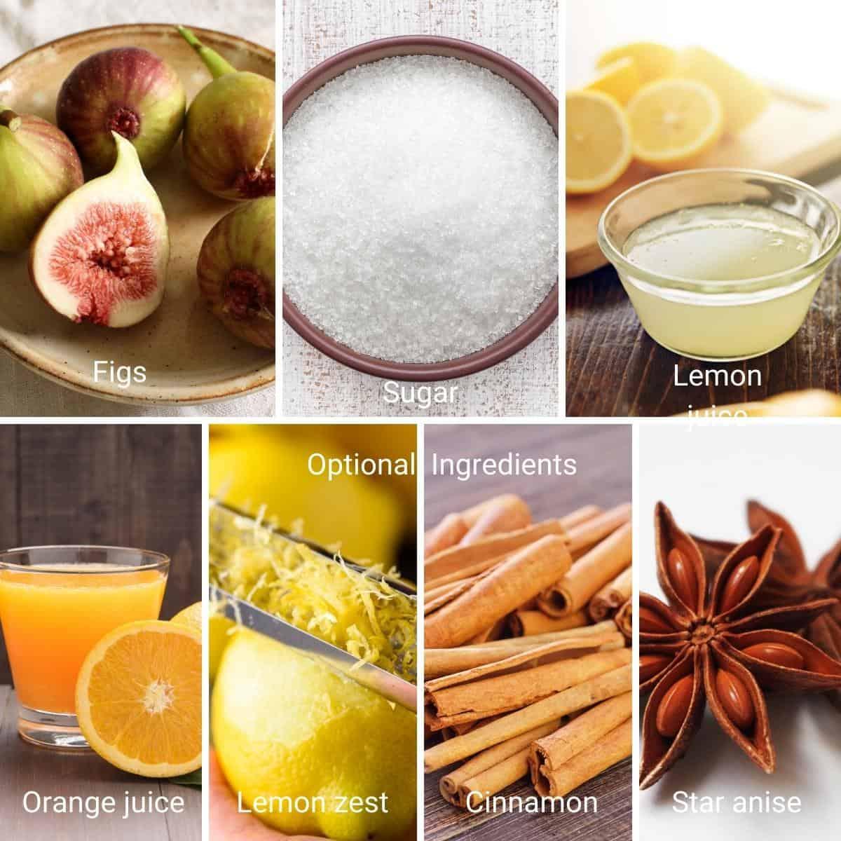 Ingredients shot collage for fig jam.