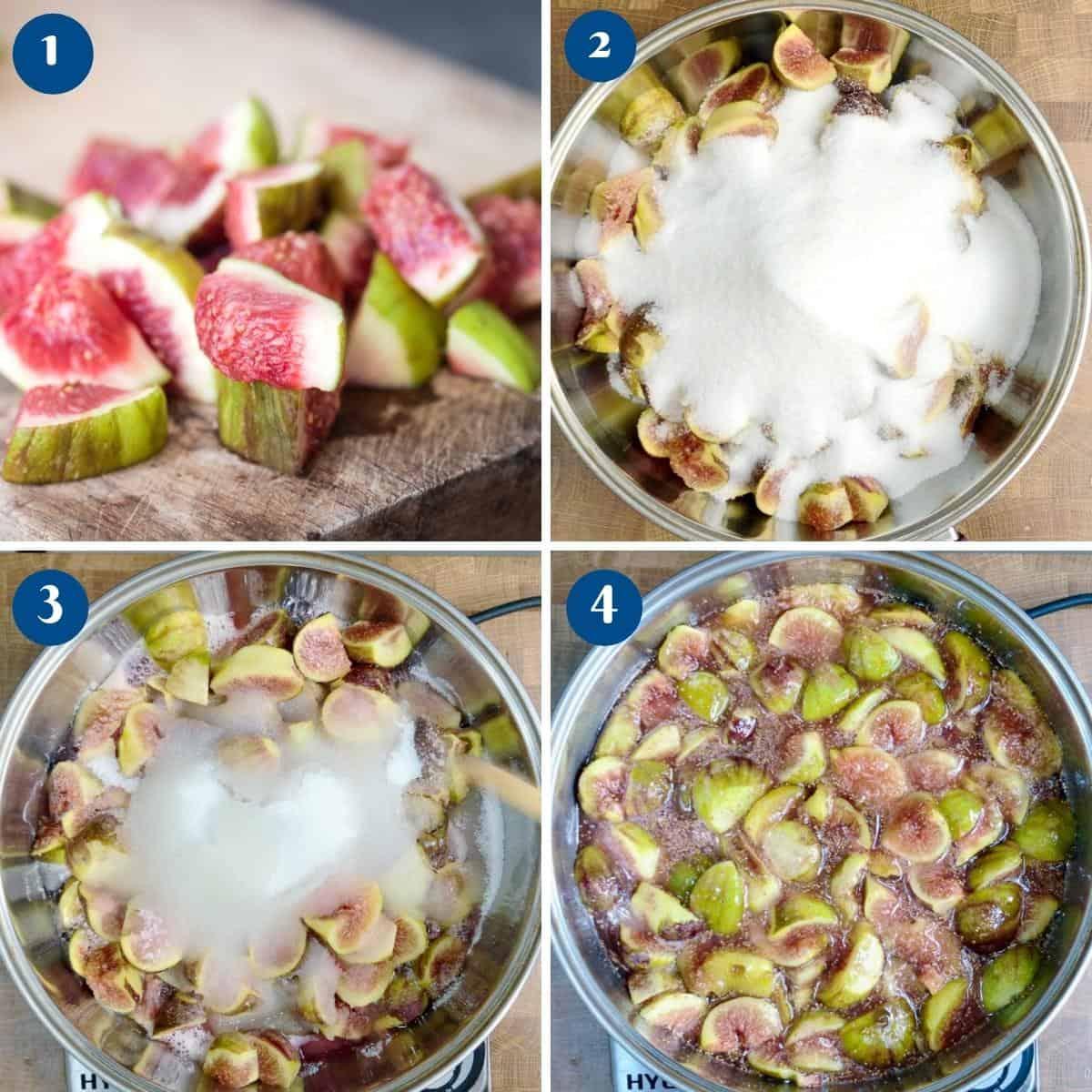 Progress pictures for fig jam recipe.