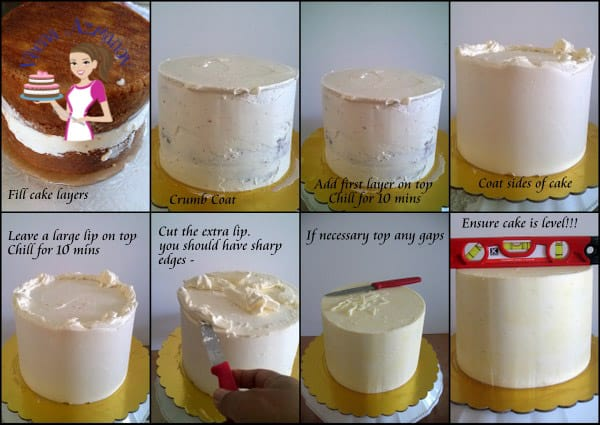A collage of progress photos of making sharp edges on a buttercream cake.