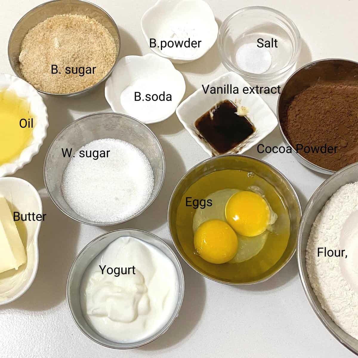 Ingredients shot - moist chocolate cupcakes.