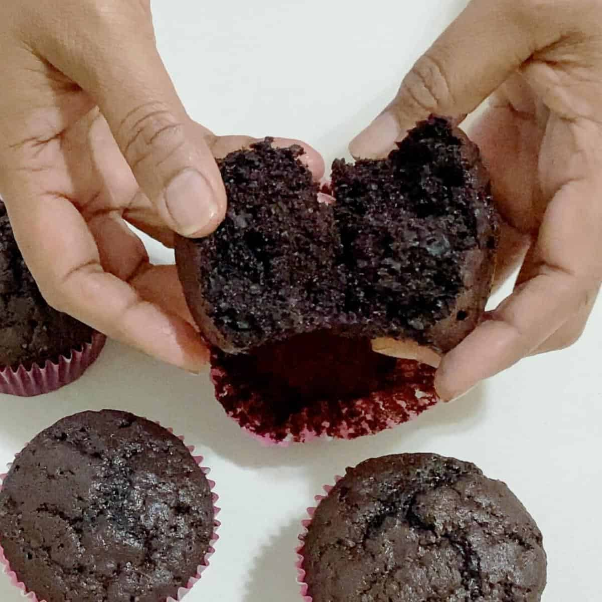 Light and fluffy chocolate cupcakes.
