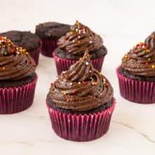 Moist chocolate cupcakes on the table.
