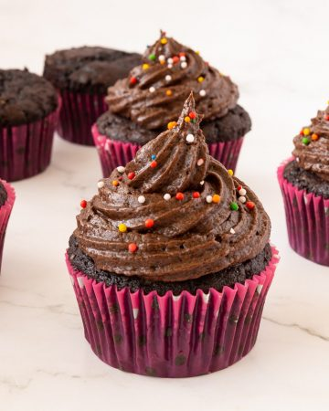 Easy chocolate cupcakes on a table.