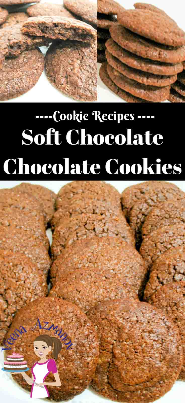 These soft chocolate chocolate cookies made with real melted chocolate are soft inside and melt in the mouth. They make a perfect treat with a cup of tea or sandwiched with some ice cream in between.