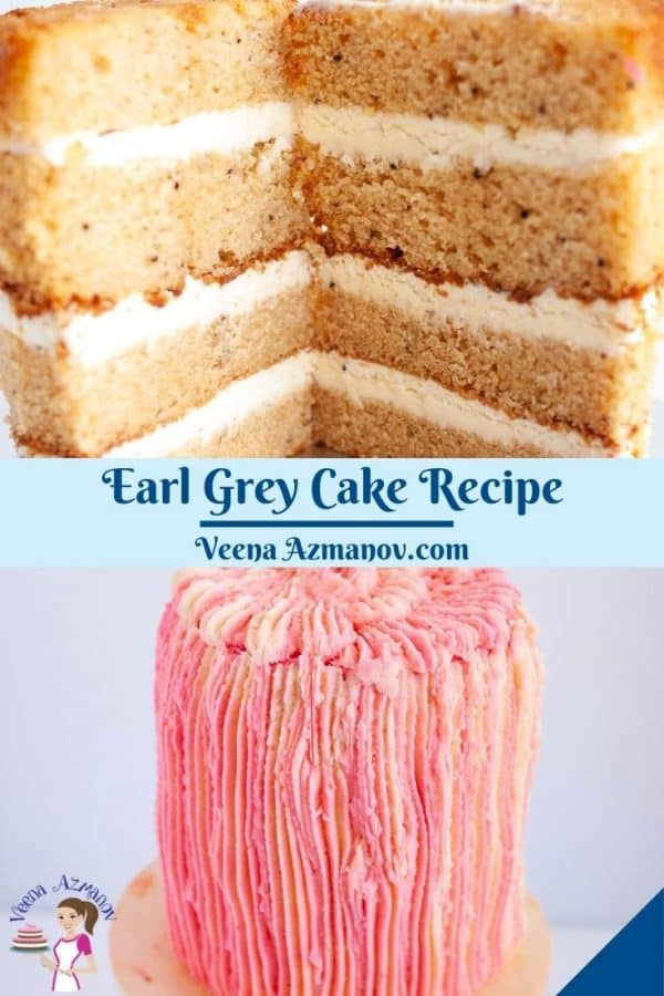 Pinterest image for cake with Earl Grey.