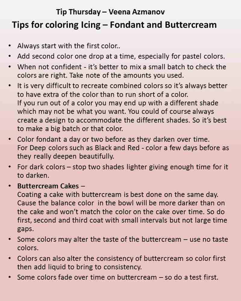 Tip Thursday - TIps for coloring icing/ frosting. Buttercream and fondant. Simple easy tips that will help make the next perfect color.
