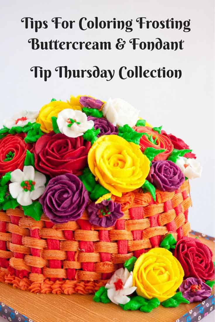 A Pinterest Optimized image for - Tips for coloring frosting - Buttercream or Fondant. Tip Thursday Collection for Icing color combination chart.