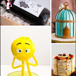 A collage of sculpted cakes.