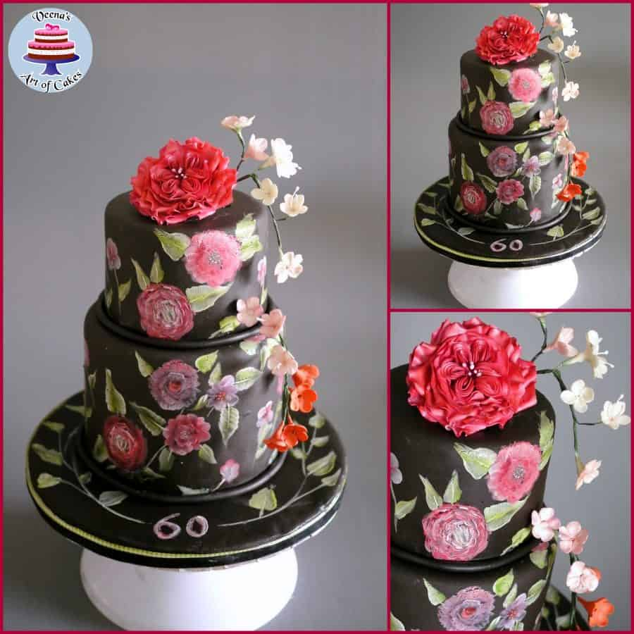 Black Hand Painted Cake