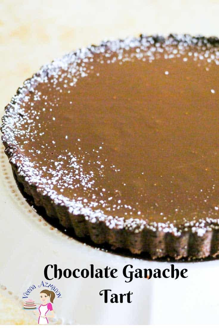 An image optimized for social media share for this simple and easy chocolate ganache tart recipe.