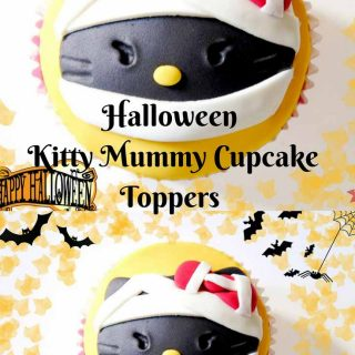 Well everybody loves hello kitty but the only time you can screw with that cute image is during Halloween - right? And what better than to make an easy Halloween Kitty mummy cupcake topper
