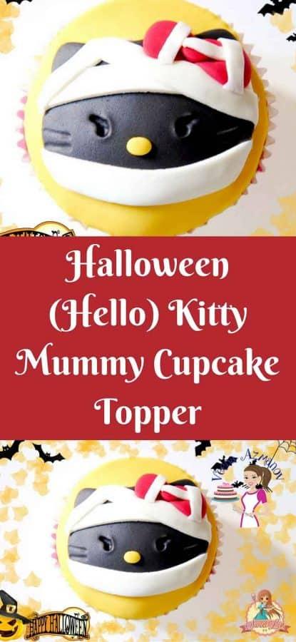 Heading: A Hallo Kitty mummy cupcake topper.