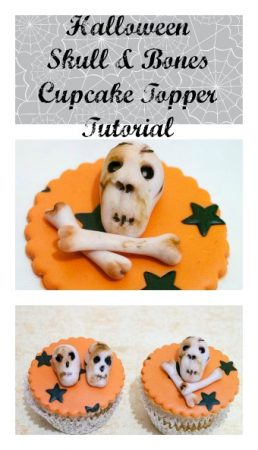 Halloween Skull and Bones Cupcake Toppers