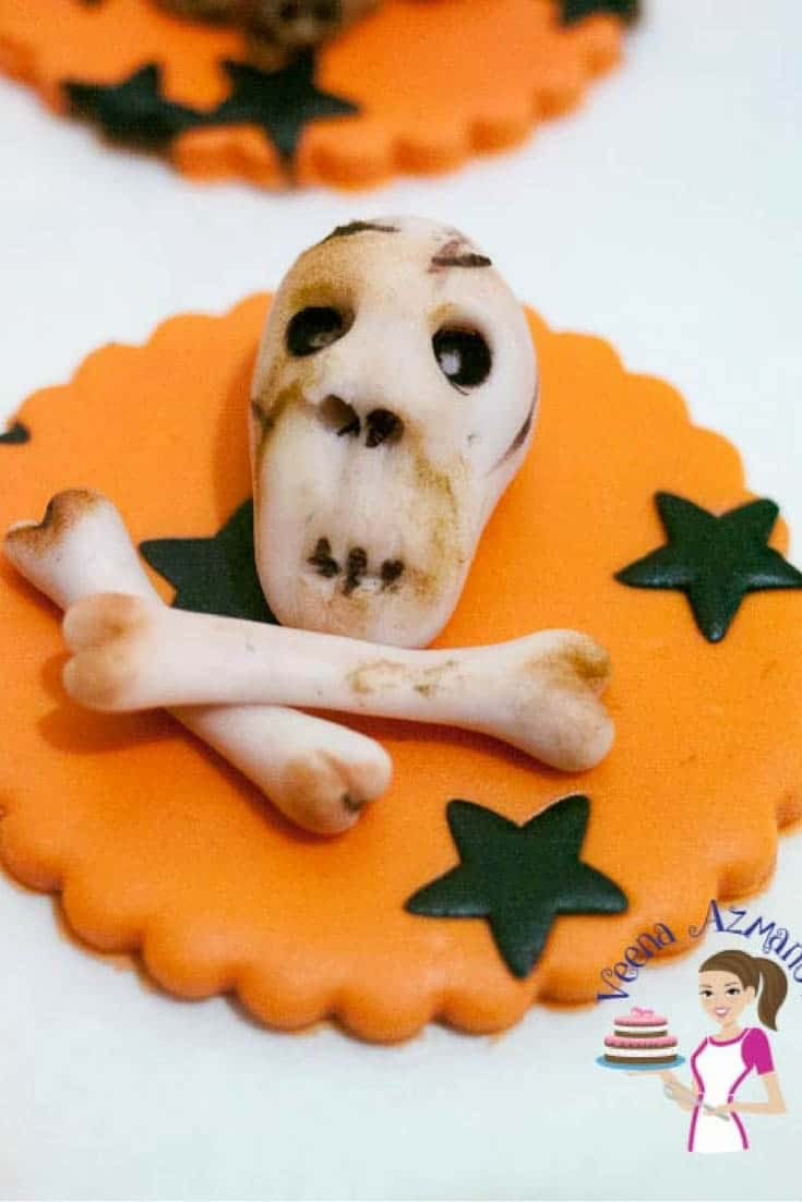 Halloween Skull and Bones Cupcake Toppers with Scrumptious Brown Butter Cupcakes