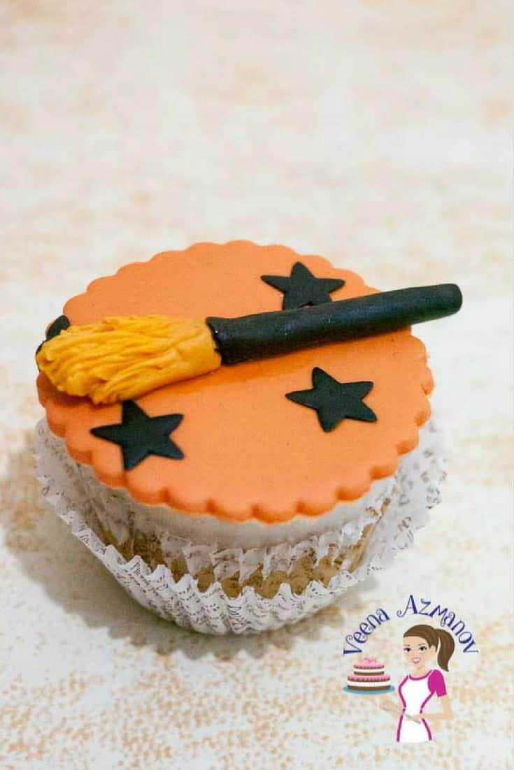 A Witch's Boom Cupcake Toppers are fun and easy to make that all kids or grown up would love to have on their cupcake or cake. Barely take five minutes to create with just a small piece of fondant no special equipment needed.