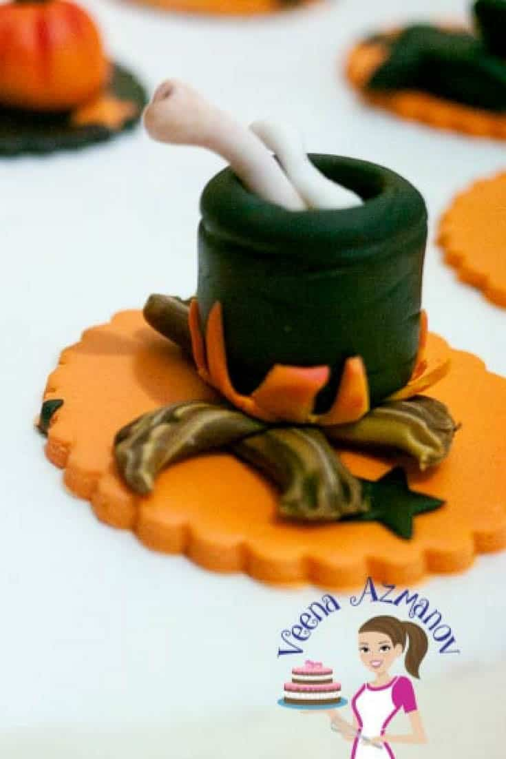 Witch's Cauldron Cupcake Topper with Scrumptious Brown Sugar Cupcakces