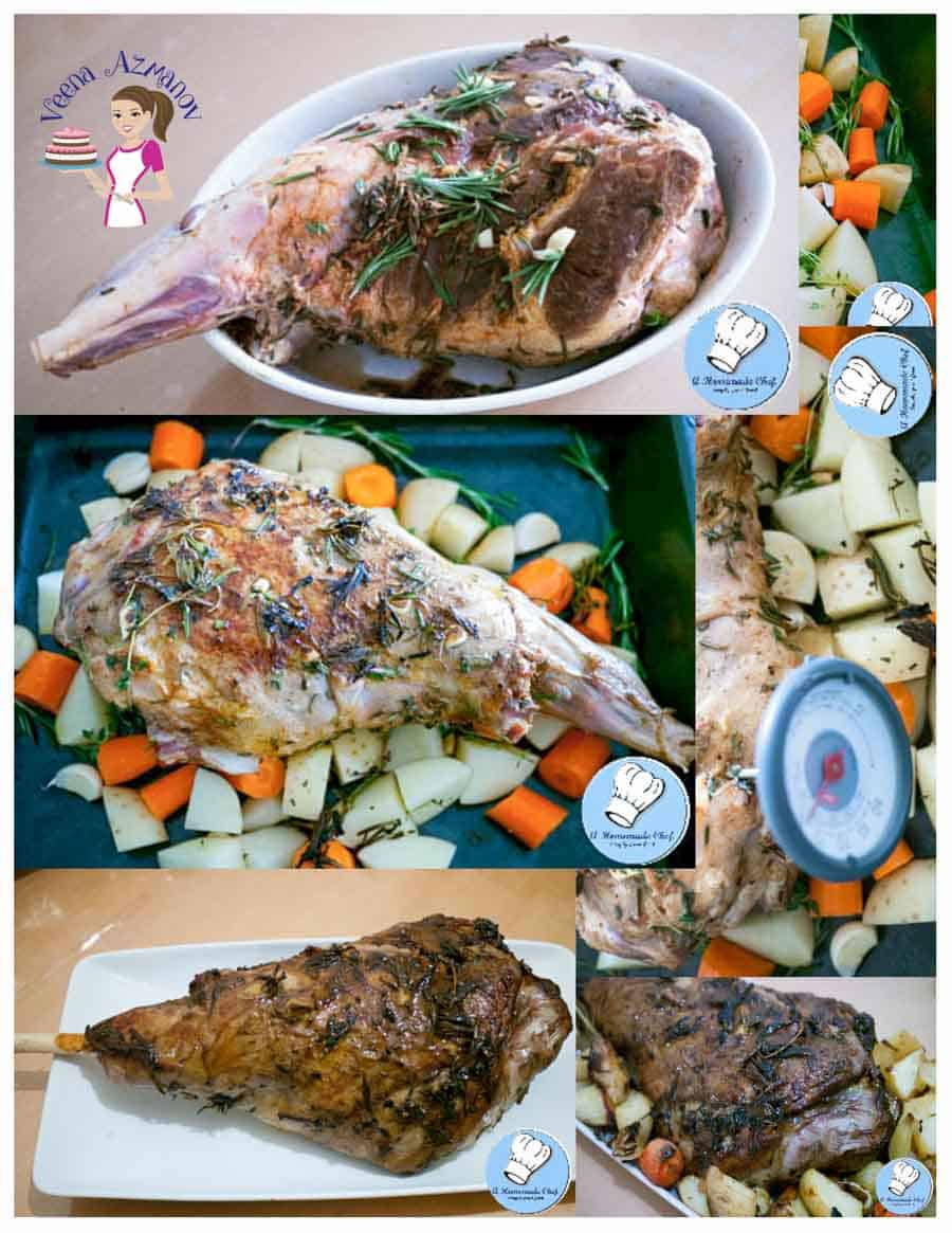Herb crusted roast leg of lamb is marinated with amazing flavors of rosemary, thyme, oregano, garlic and lemon cooked with a bed vegetables making it a complete meal on it's own.