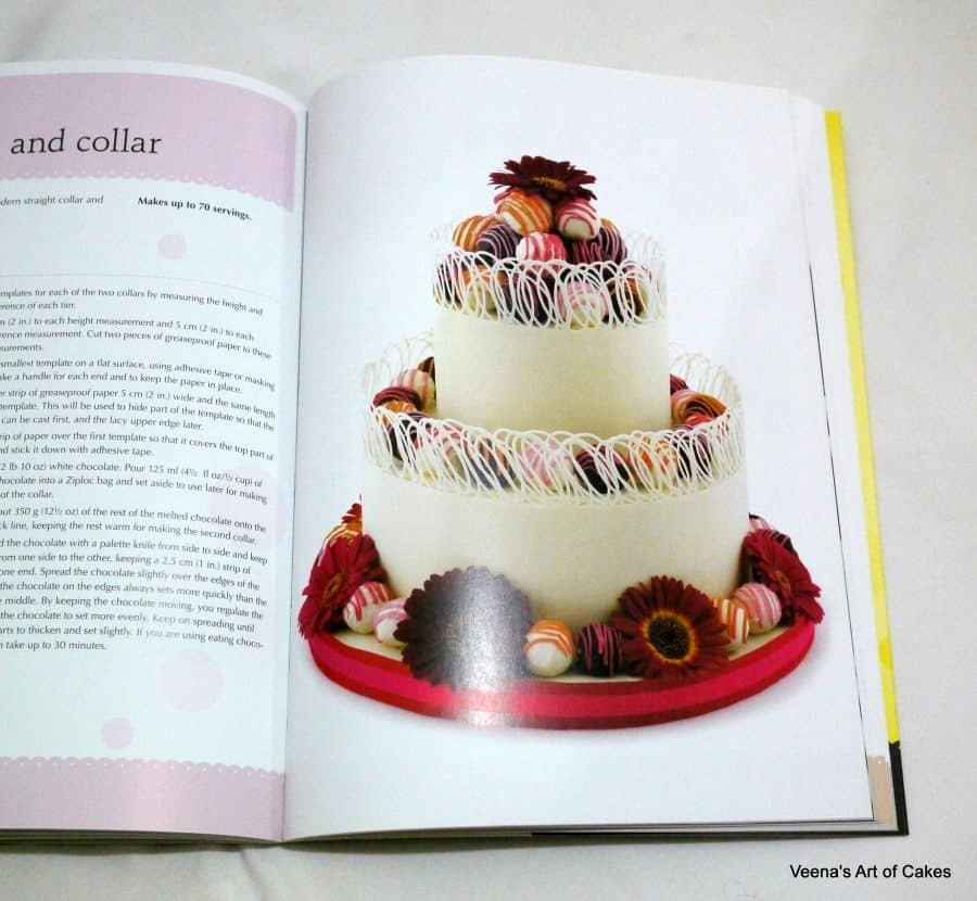 A photo of a book page featuring a decorated chocolate cake.