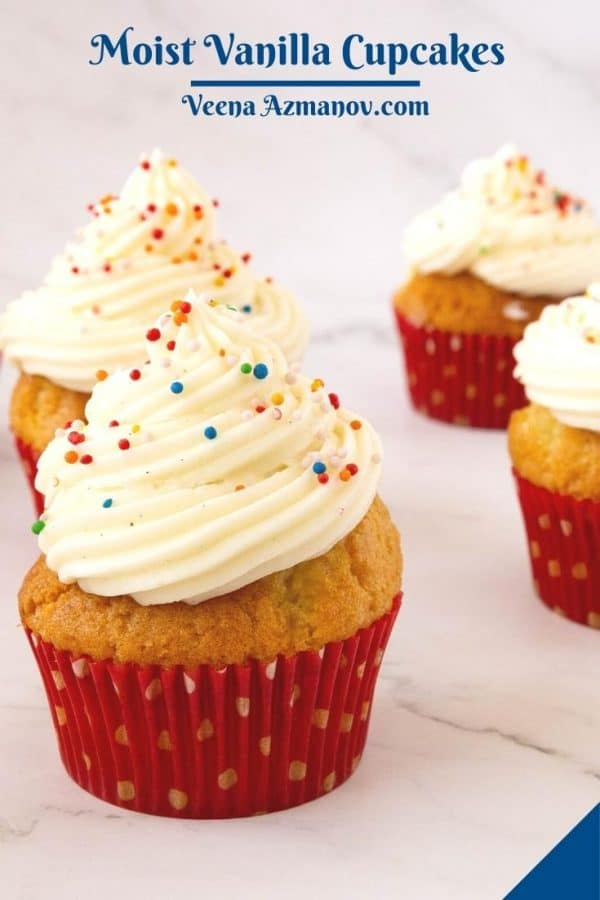 Pinterest image for vanilla cupcakes.