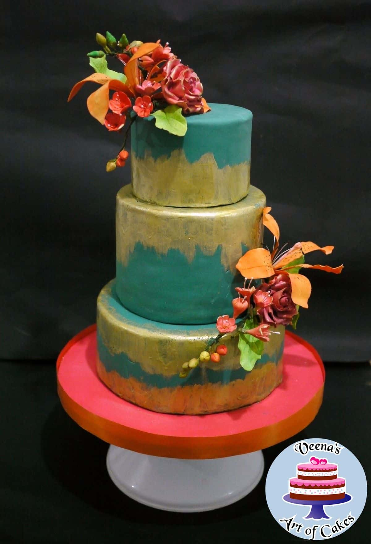 Rustic Teal and Gold Wedding Cake