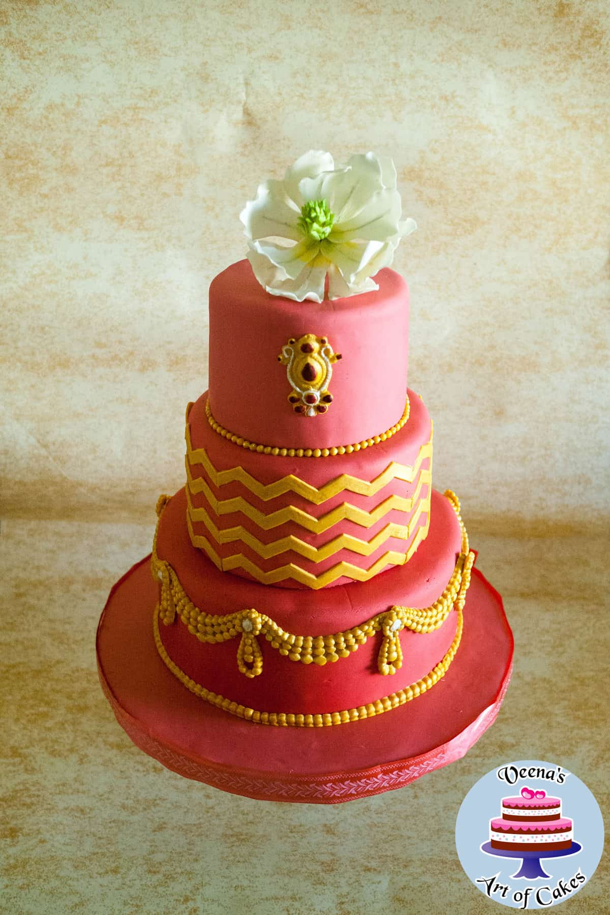 Red Ombre Wedding Cake with Sugar Magnolia