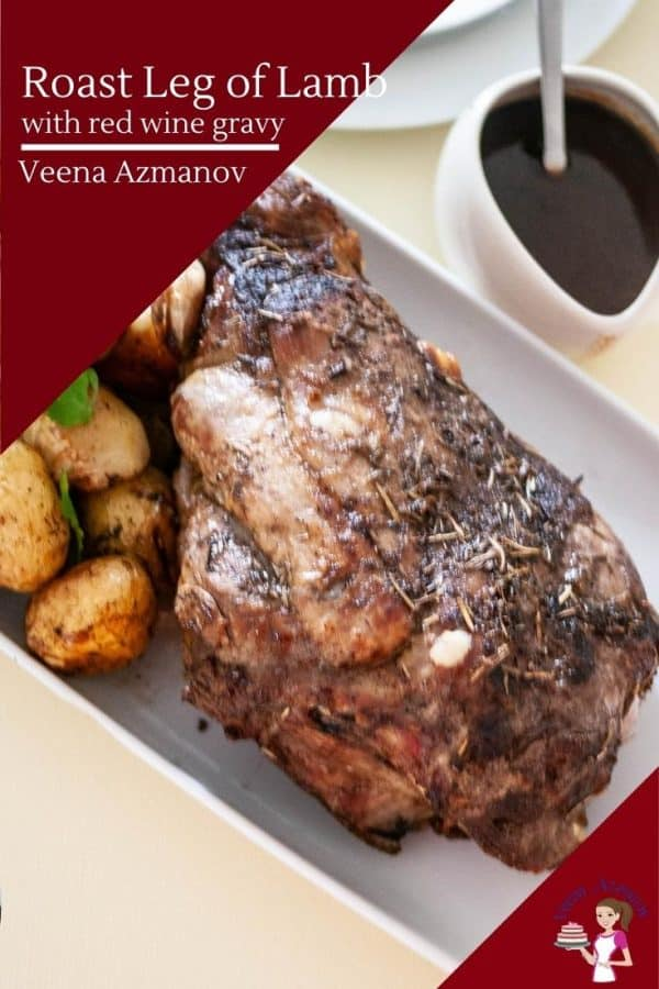 How to roast a lamb leg with baby potatoes and red wine gravy